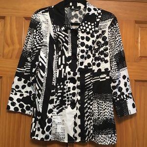 Samuel Dong Black/White Blazer/Jacket - Size 8